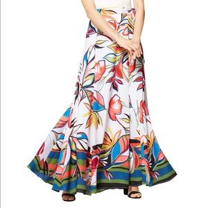Maxi Wrap Skirt Abstract Floral Print Paper White
